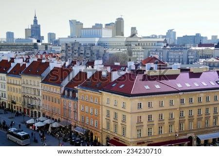 POLAND, WARSAW - 2013 APRIL 21: Krakowskie Przedmiescie street , part of the Royal Route in the city of Warsaw, Poland. - stock photo