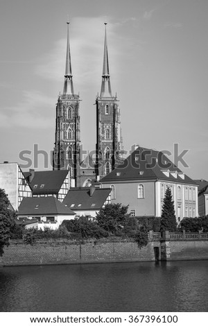 POLAND, WROCLAW - AUGUST, 2012. - View on the Wroclaw Cathedral of St. John in the oldest district of Ostrów Tumski (Cathedral Island) - stock photo
