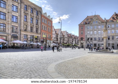 POLAND, WROCLAW - May 08.2014: Squares and streets of historical center of ancient city