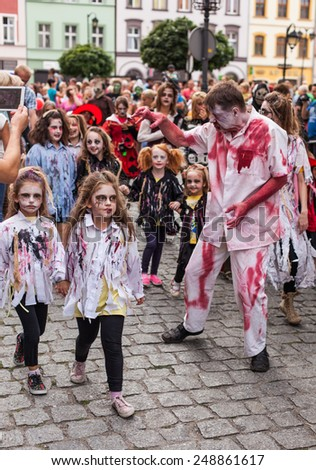 POLAND, ZABKOWICE SLASKIE  - AUGUST 30, 2014: town center frankenstein celebration day