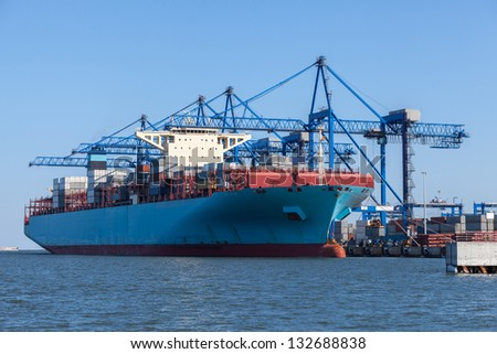 Polands newest and most modern container and Ro-Ro terminal. - stock photo