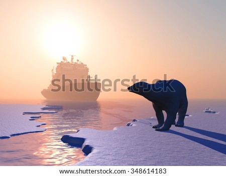 Polar bear and icebreaker in the north.