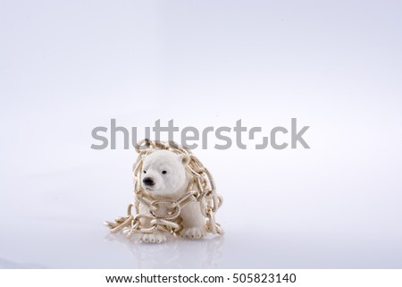 Polar bear cub in chain on a white background
