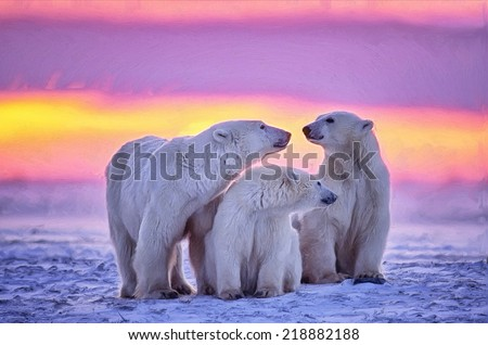 Polar bear family in Arctic sunset - stock photo