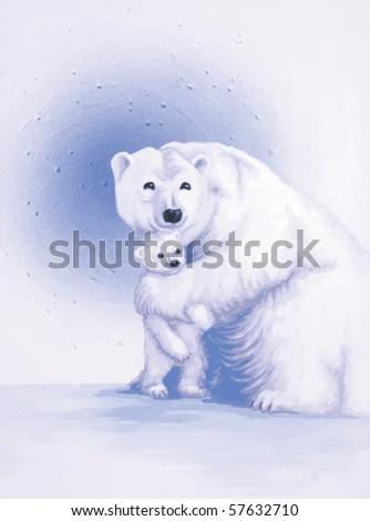 Polar Bear Painting - stock photo