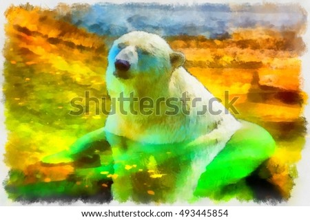 Polar bear sitting in the water on a hot day in the sun.Simulates a watercolor painting.