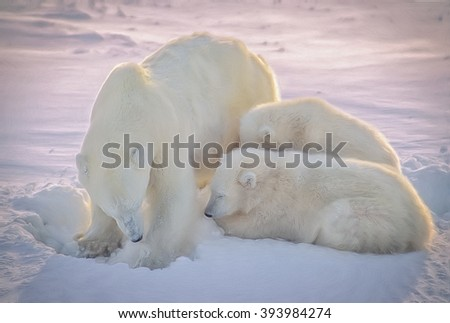 Polar bear with her cubs in Canadian Arctic,digital oil painting