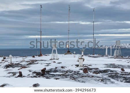 Polar weather station on the shore of the Barents sea, Kola Peninsula, Russia