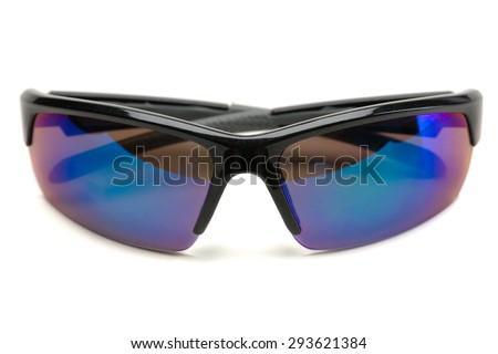 Polarized sunglasses sports. Isolate on white. - stock photo