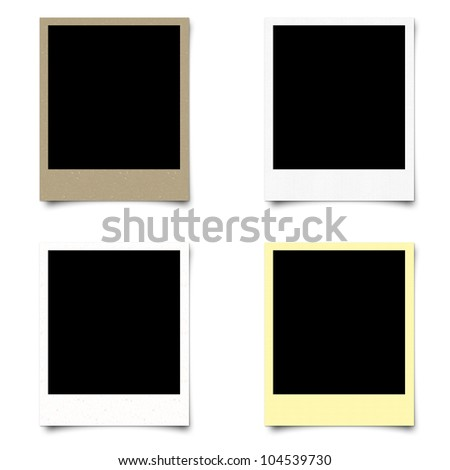 Polaroid 4 blank photo frame isolated on white background - stock photo