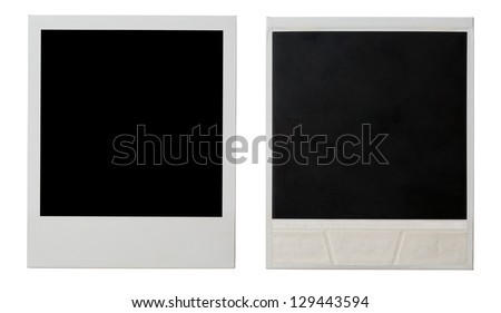 polaroid instant photo frame both sides isolated on white - stock photo
