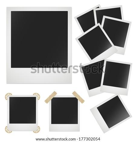 Polaroid photo frame on white background. Raster illustration - stock photo