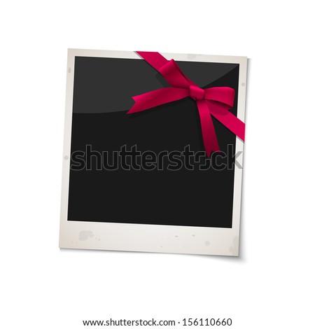 Polaroid photo frame with bow red ribbon. Raster version - stock photo