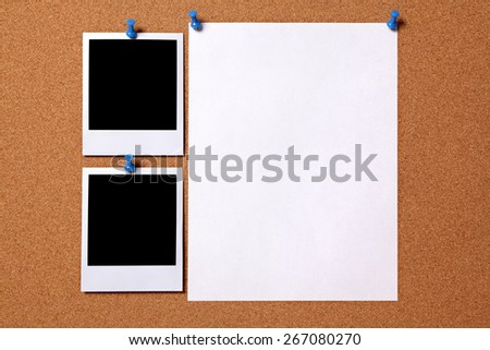 Polaroid photo print, poster paper, cork background - stock photo