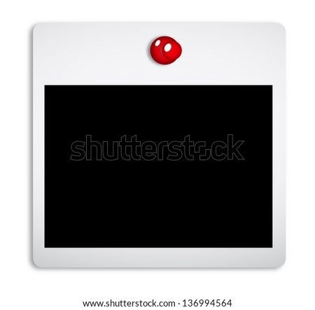 Polaroid plate on the button - stock photo