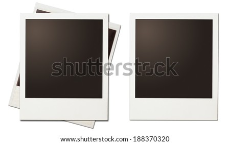 polaroid retro instant photo frames isolated on white - stock photo
