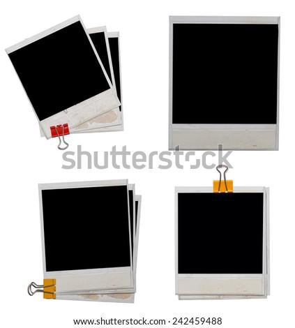 polaroids isolated on white background - stock photo