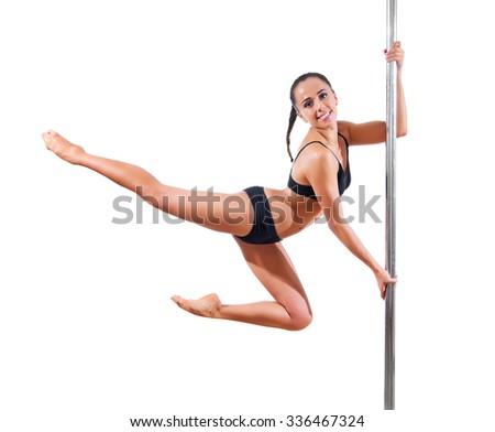 Pole dancer isolated on white - stock photo