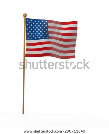 Pole, national flag, the United States