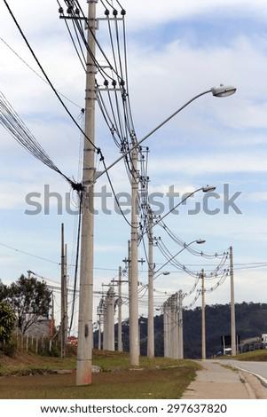 pole of distribution of electric energy, sao paulo, brazil  - stock photo