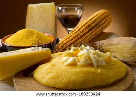 polenta and cheese - stock photo