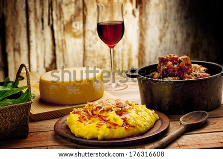 Polenta And With Meat and Tomatoes Sauce