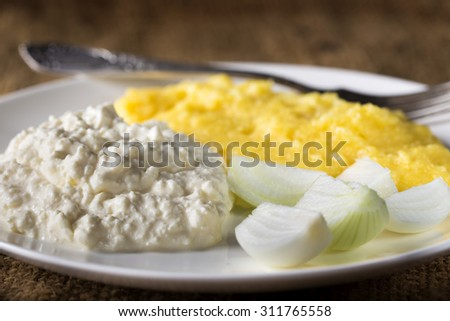 Polenta, cheese with cream and fresh onion on plate