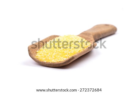 Polenta on shovel - stock photo