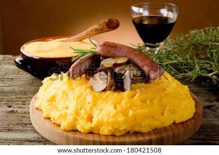 polenta sausage and mushroom - stock photo