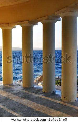 poles of lighthouse - stock photo