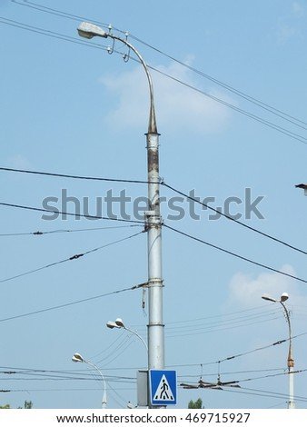 poles, wires, city light