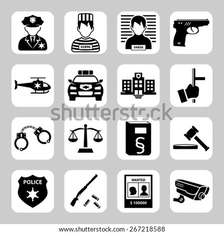 Police and criminality  icon set - stock photo