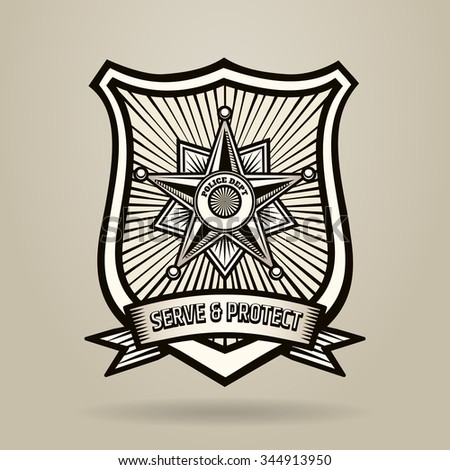 Police Badge with wording Serve and Protect. Illustration in Engraving Style . Free font used. - stock photo