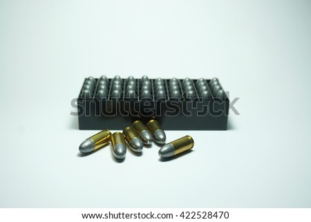 police bullets  9 mm and box on white background