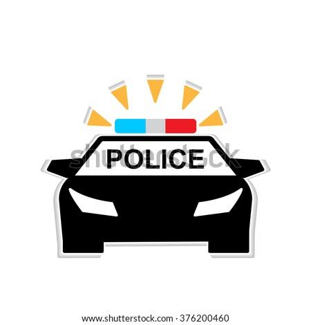 Police car flat icon illustration - stock photo