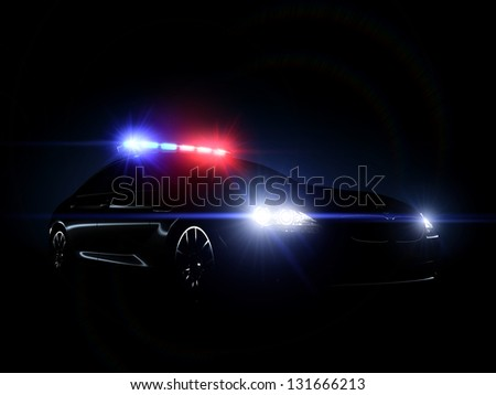 Police car full array of tactical lights.