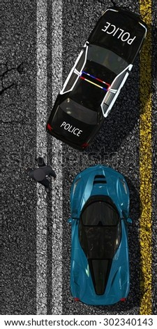 Police car stops sports car on street - top view