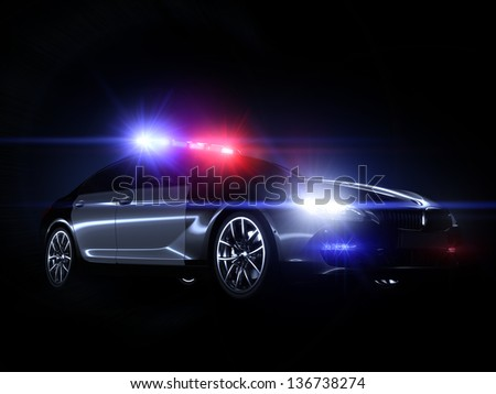 Police car, with full array of lights - stock photo