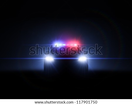 Police car with full array of lights and tactical lights. - stock photo