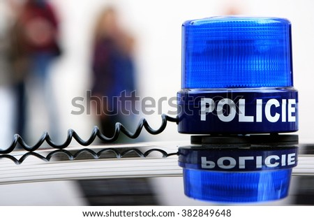 Police car with siren (in czech language)  - stock photo