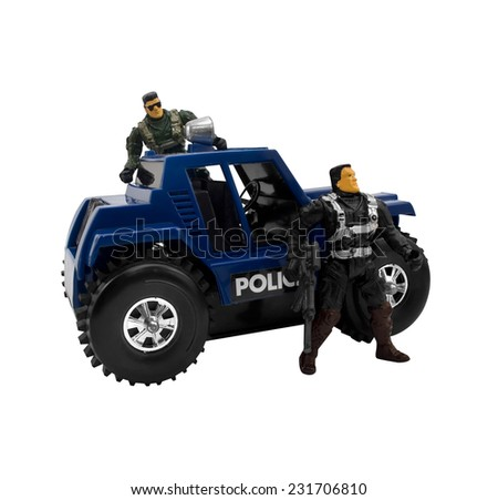 Police car with soldiers.Isolated military car standing with armed toy soldiers.  - stock photo
