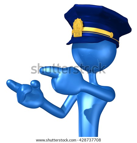Police Character 3D Illustration - stock photo