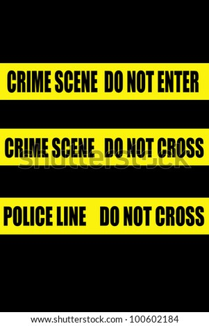 police crime scene yellow tapes, set of three