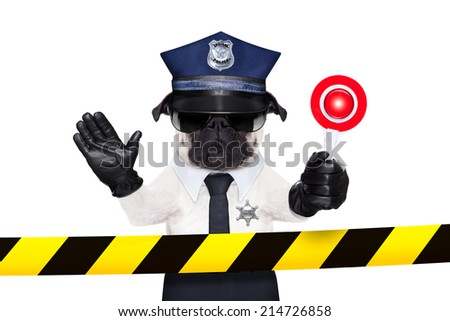 POLICE DOG ON DUTY WITH stop sign and hand behind a warning stripe band or tape isolated on white blank background - stock photo