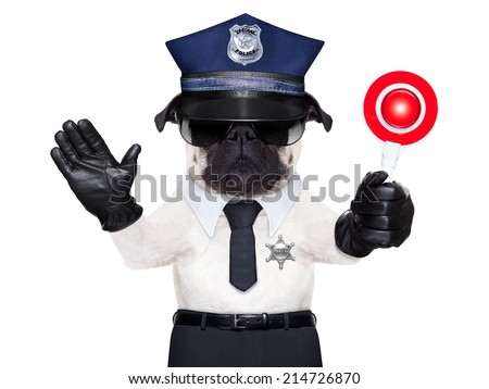 POLICE DOG ON DUTY WITH stop sign and hand , isolated on white blank background - stock photo