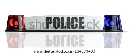 police flasher isolated on white background. High resolution 3d  - stock photo