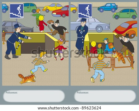 Police found a way to force pedestrians to use the underground passage - stock photo