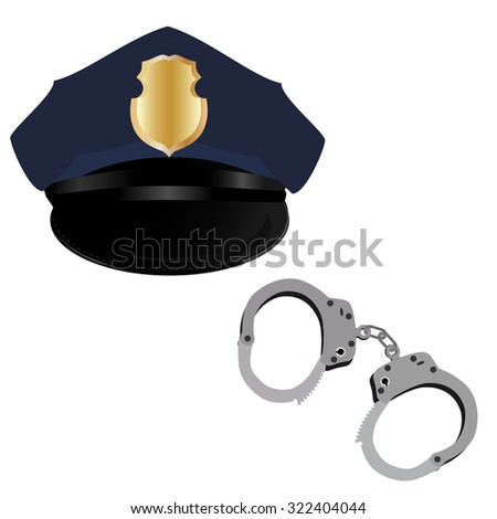 Police hat and handcuffs raster icon set isolated, policeman uniform - stock photo