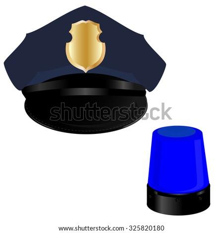 Police hat, police light, policeman, professional uniform - stock photo