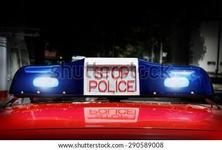 Police Lights, Stop Police - stock photo